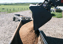 loading feed into troughmobile